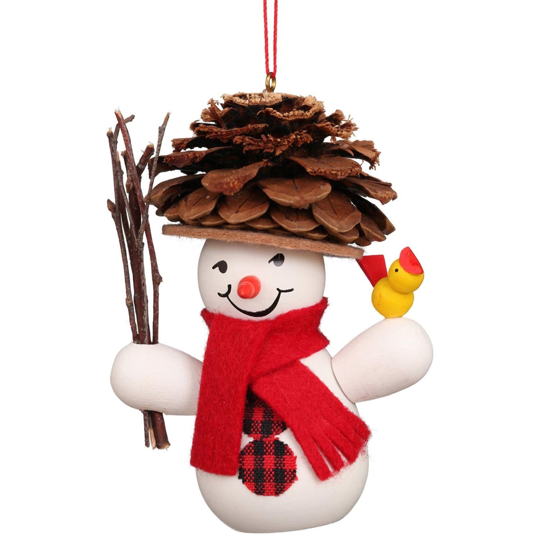 10-0201 Snowman Wearing Pinecone Hat