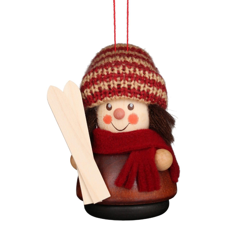 15-0216 Ornament - Skier (Natural)