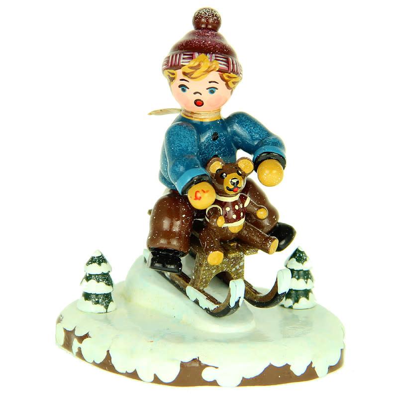 110h1009 Winter Children - Boy with Toboggan
