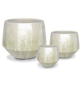 Undercut Egg Pot - Marble White L