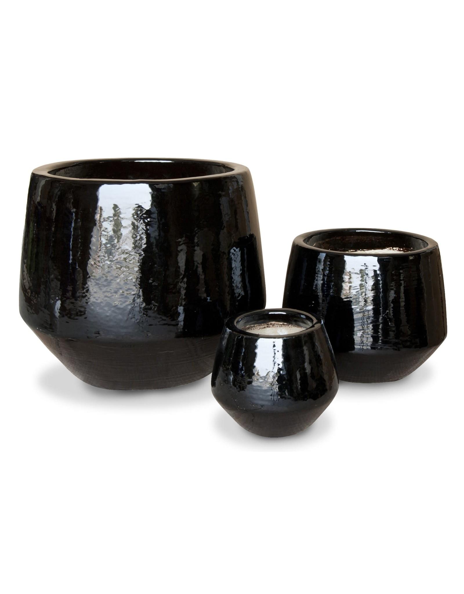 Undercut Egg Pot - Gloss Black L