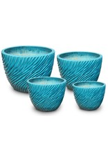 Ripple Low Egg Pot - Crackle Turquoise - L