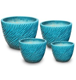 Ripple Low Egg Pot - Crackle Turquoise - XL
