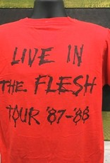 """Apparel Alice Cooper 1987-1988 Live In The Flesh Tour T-Shirt, Red, L (26"""" Long/20.5"""" Pit to Pit)"""