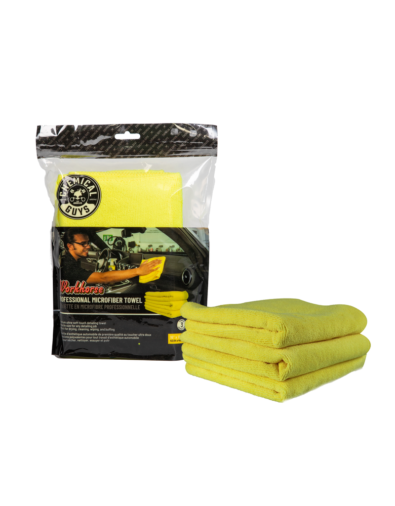 "Chemical Guys Workhorse Professional Microfiber Towel, Yellow 16"" x 16"" (3 Pack)"