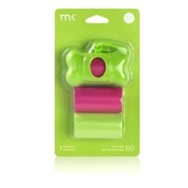 Modern Kanine MK poop bag dispensor grn/pink  60 ct