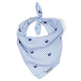 The Worthy Dog The Worthy Dog Gingham Whales Bandanna LG