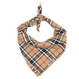 The Worthy Dog The Worthy Dog Tan Plaid Bandanna SM