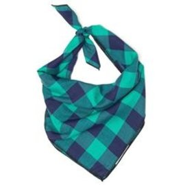 The Worthy Dog The Worthy Dog Green & Navy Bandanna LG