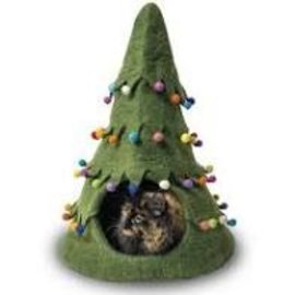 Distinctly Himalayan Distinctly Himalayan Felted Cat Cave Xmas Tree Grn