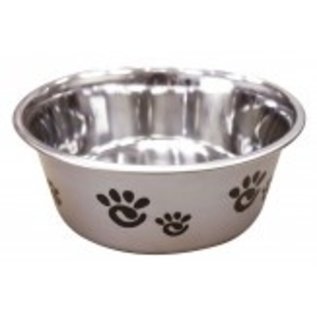 Barcelon Dog Bowl Silver With Black Paws 16oz