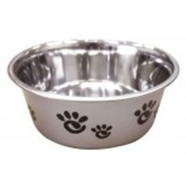 Barcelona Dog Bowl Silver With Blk Paws 32oz