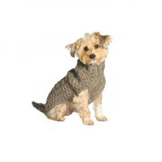 Chilly Dog Chilly Dog Sweater Cable Knit Gray Large