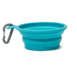 Messy Mutts Messy Mutts Dog Collapsible Bowl Blue 1.5 Cup