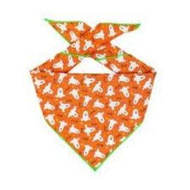 Hunter K9 Paisley Paw Designs Orange Ghost Bandana Lg