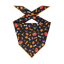 Hunter K9 Paisley Paw Designs Black Halloween Bandana Lg