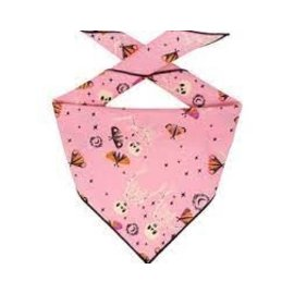 Hunter K9 Paisley Paw Design Pink Halloween Bandana Lg