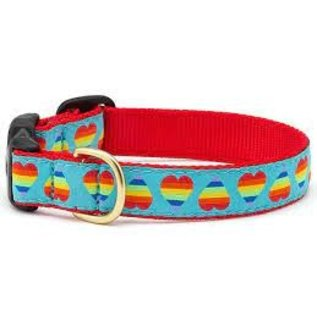 Up Country Up Country Dog Collar Narrow Rainbow Hearts MD