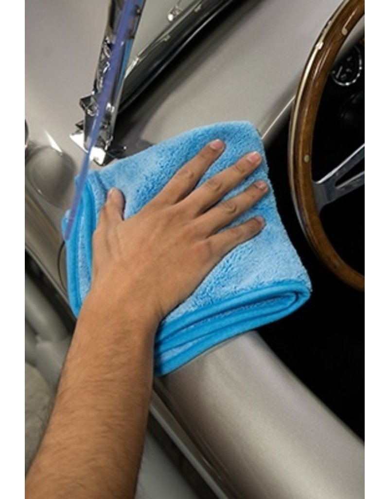 "Chemical Guys MIC50103 Super Plush Super Premium Microfiber Towel, 16"" X 16"" (3 Pack)-Blue w/Blue Edges"