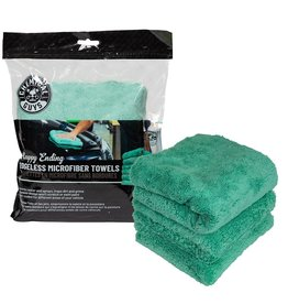 "Chemical Guys Happy Ending Ultra Plush Edgeless Microfiber Towel, Green 16"" x 16"" (3 Pack)"