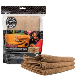 "Chemical Guys Workhorse Professional Microfiber Towel, Tan 16"" x 16"" (3 Pack)"
