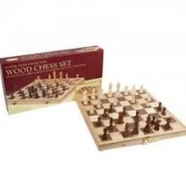"""John Hansen 10 ½"""" x 10 ½"""" folding inlaid wood chess board with 1 ¼"""" sq. and 2 ½"""" king."""