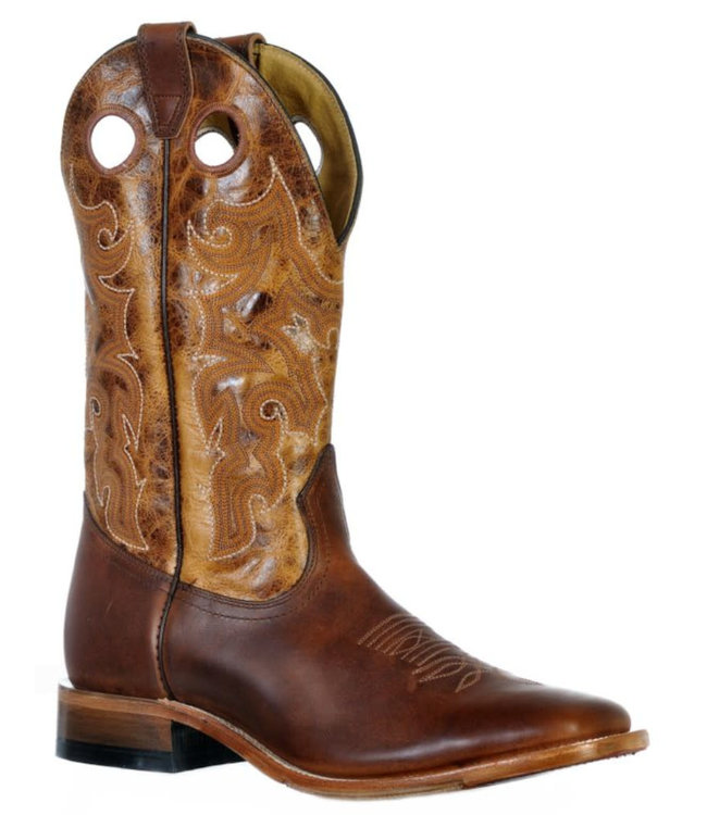 Boulet Square Toe Injected Leather Sole Boots