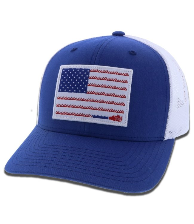 Hooey Liberty Roper Snapback Cap, Blue/White