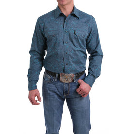 Cinch Paisley Print Snap Western Fitted Shirt