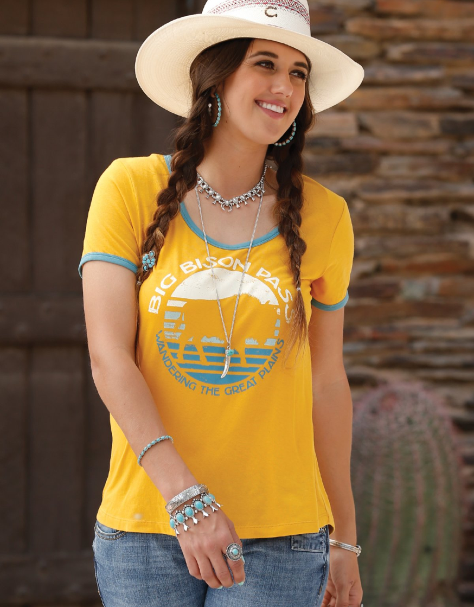 Cinch Cinch Ringer Bison Tee