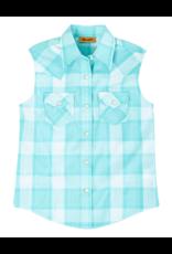 Wrangler Wrangler Sleeveless Plaid Western Snap Shirt