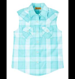 Wrangler Sleeveless Plaid Western Snap Shirt