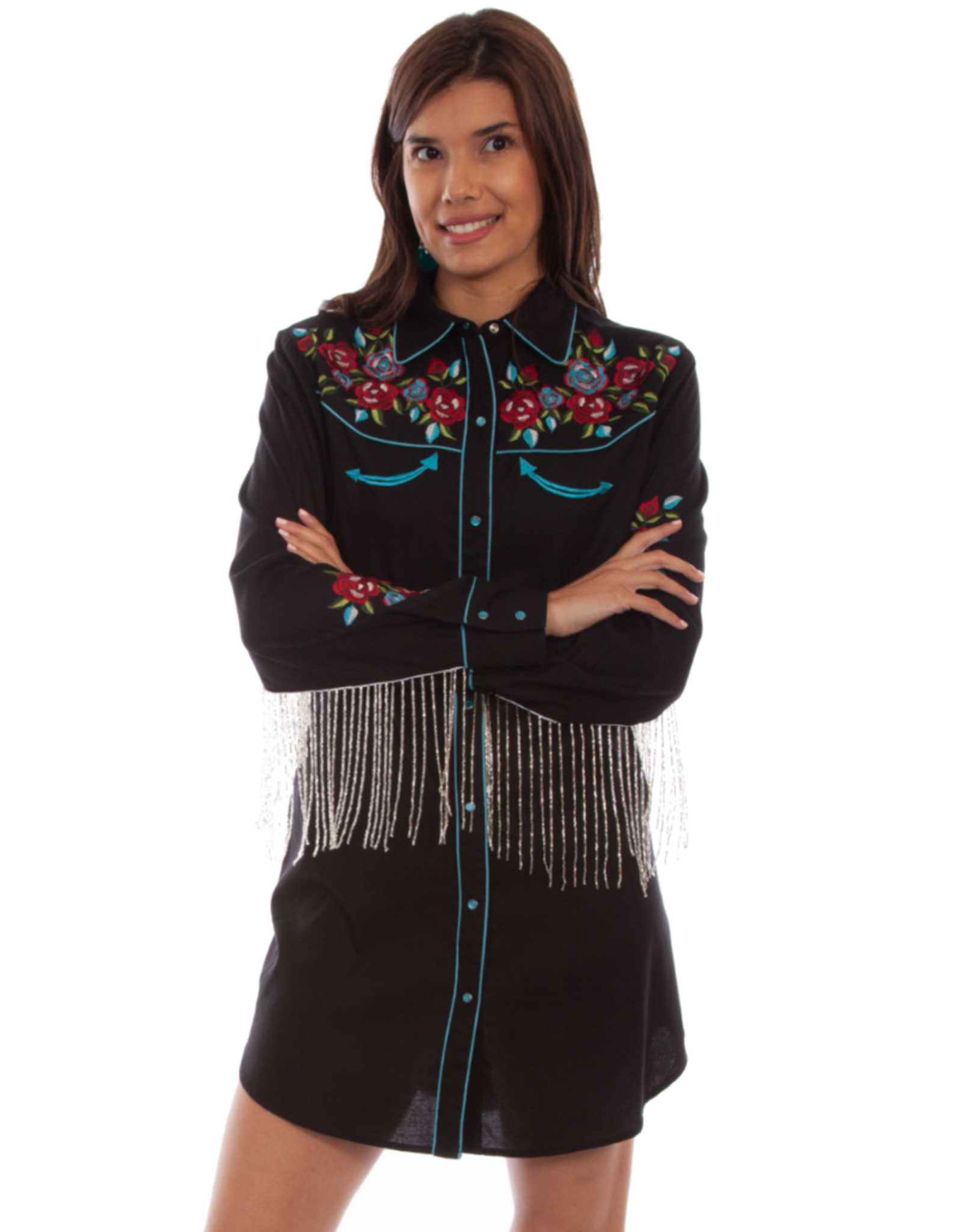 Scully Scully Embroidered Snap Shirt Dress