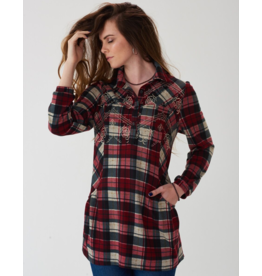 Montana Clothing Co Prairie Creek Embroidered Plaid Tunic