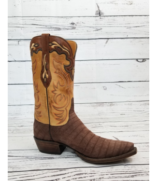 Lucchese Classics Chocolate Suede Crocodile Boots
