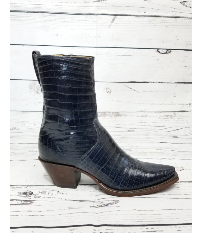 Lucchese Classics Navy Ultra Belly Caiman Boots: 8B