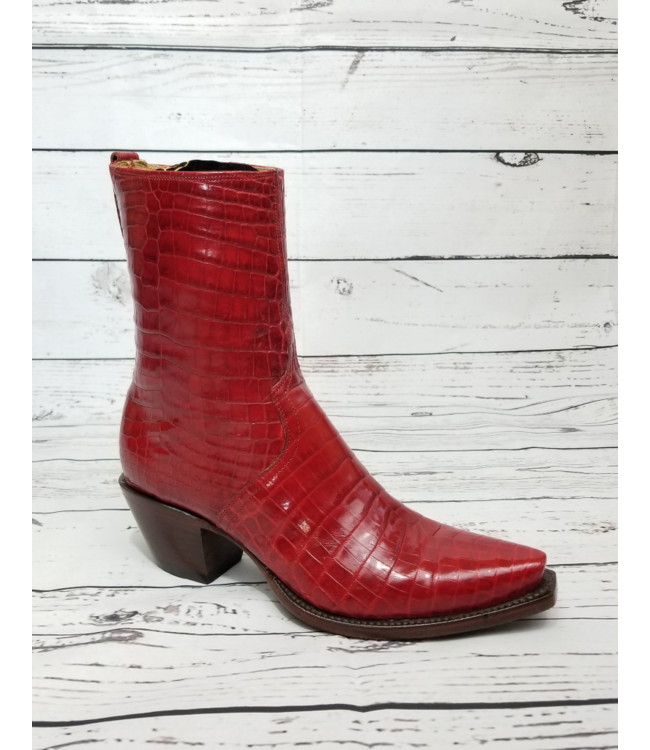 Lucchese Classics Red Ultra Belly Caiman Boots: 7.5B