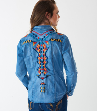 Montana Clothing Co Denim Embroidered Shirt