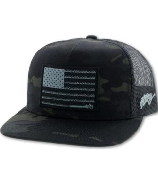 Hooey Liberty Roper Youth Cap, Camo/Black
