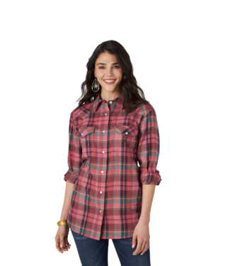 Wrangler Boyfriend Flannel Plaid Shirt, Multiple Color Options