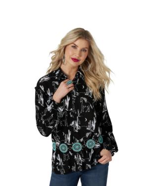 Wrangler Rayon Ruffle Print Shirt