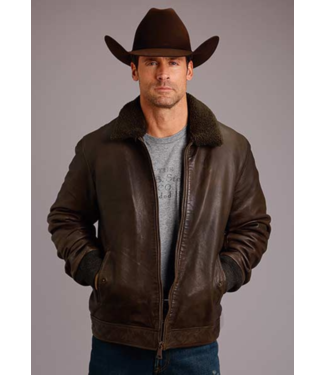 Stetson & Roper Apparel Stetson Leather Jacket with Sherpa Collar