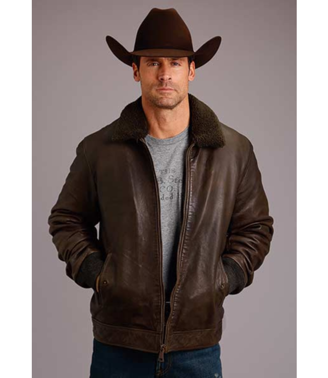 Stetson Leather Jacket with Sherpa Collar