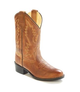 Old West Kids Brown Leather Roper Toe