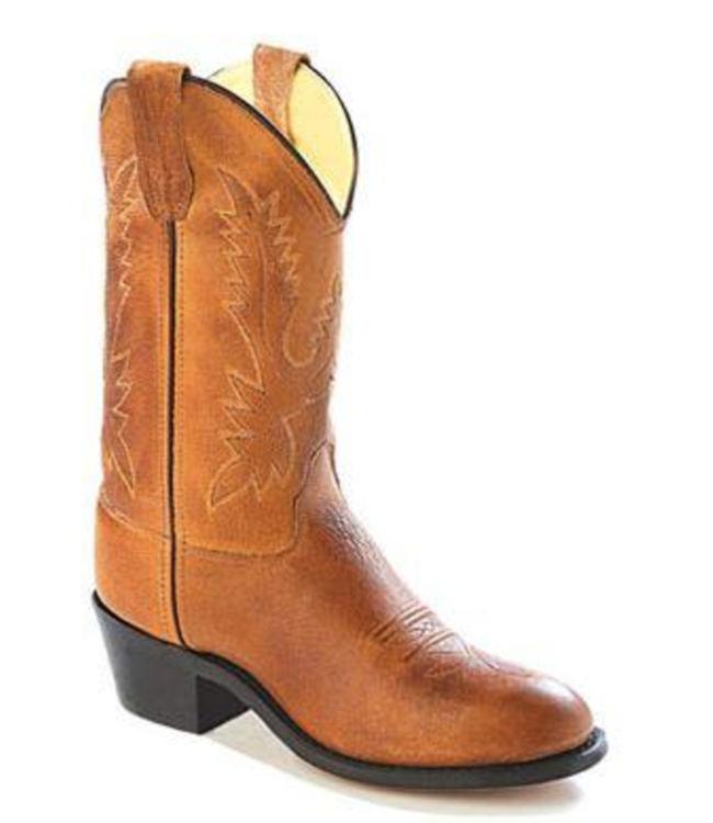 Old West Youth Brown Leather Roper Toe Boots