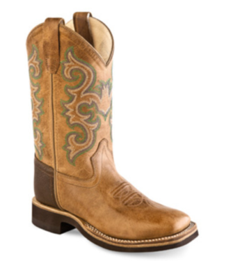 Old West Kids Tan Square Toe Kids Boots