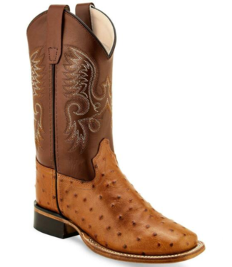 Old West Kids Ostrich Print Boots