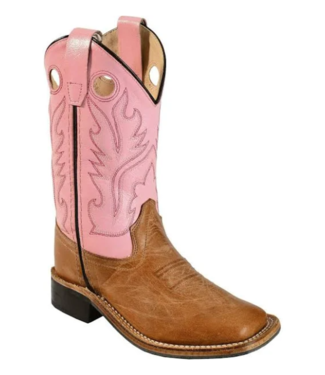 Old West Youth Pink Corona Calf Square Toe Boots