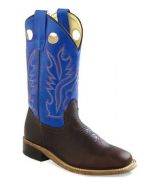 Old West Kids Blue Square Toe Boots