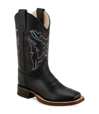 Old West Youth Leather Square Toe Boots